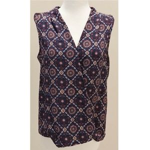 NWOT Pink Rose Navy Boho V Neck Tank M Womens